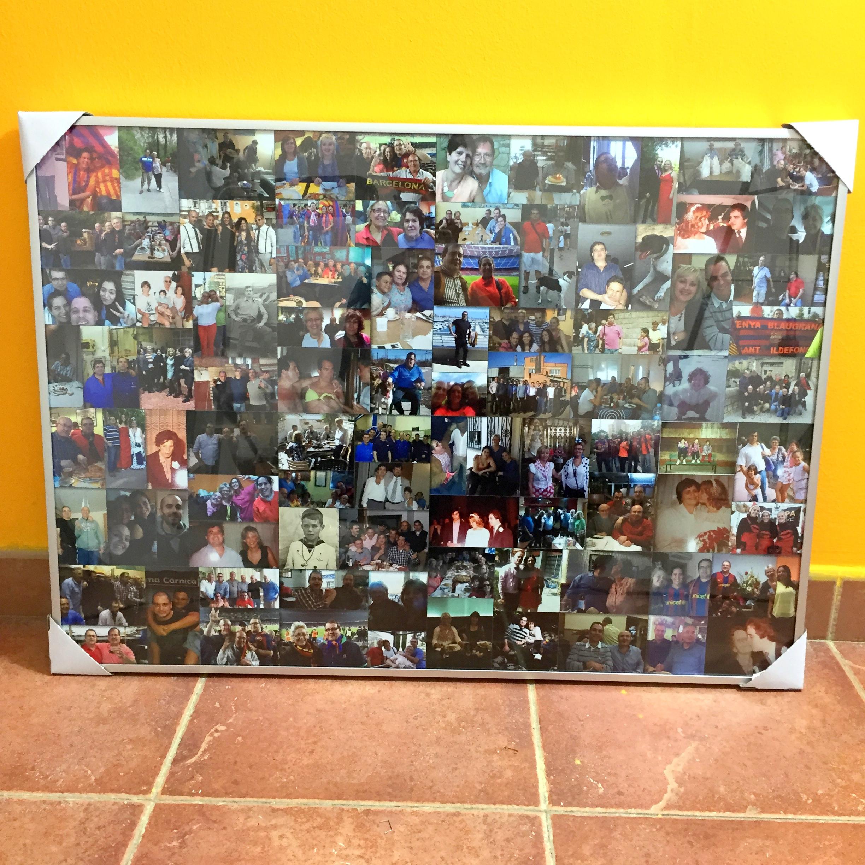 Marco de cristal 50 x 70 cm con collage (máximo 100 fotos)