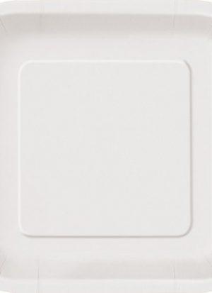 14 Platos cuadrados blancos 23 cm