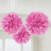 3 colgantes fluffy fucsia 40 cm