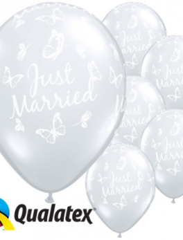 50 globos látex transparentes 'Just Married' 41 cm