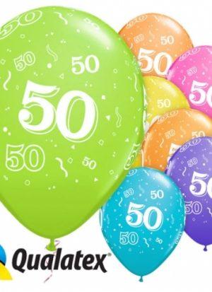 6 globos 50 años 28 cm