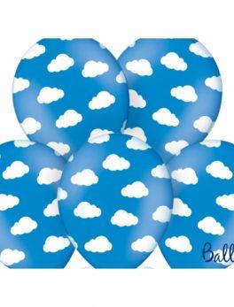6 globos azul con nubes 30 cm
