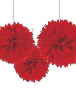 3 colgantes fluffy rojo 30cm
