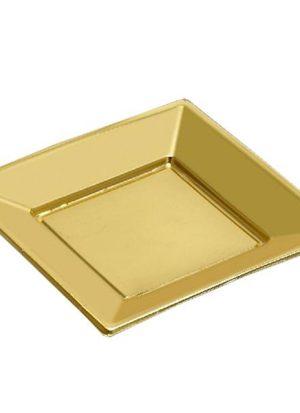 Pack 5 Platos Oro Cuadrados Peq
