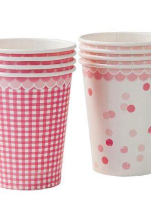 Pack 8 vasos rosa chic