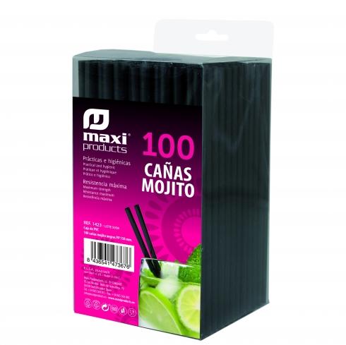 100 pajitas negras para mojito 15 cm