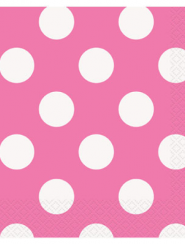 16 servilletas topos rosass 33x33cm