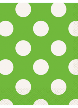 16 servilletas topos verdes 33x33cm
