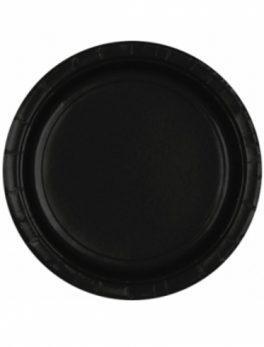 8 platos cartón negro 18cm