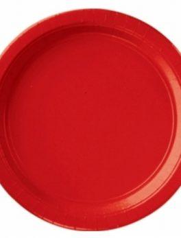 8 platos de cartón rojo 23 cm