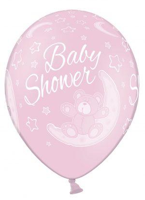 10 globos baby shower rosa