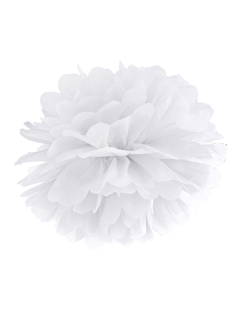 Pompón papel blanco 25 cm