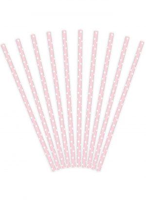 10 pajitas de papel con topos rosa