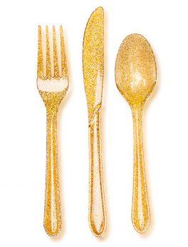 24 cubiertos oro brillante