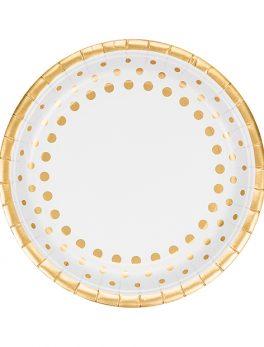 8 platos blancos topos oro 23 cm