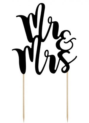 Topper para pastel ''mr&mrs'' 25 cm