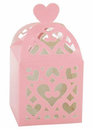 50 cajitas filigrana rosa