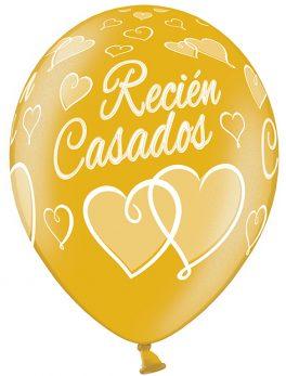 10 globos recién casados dorado 30 cm