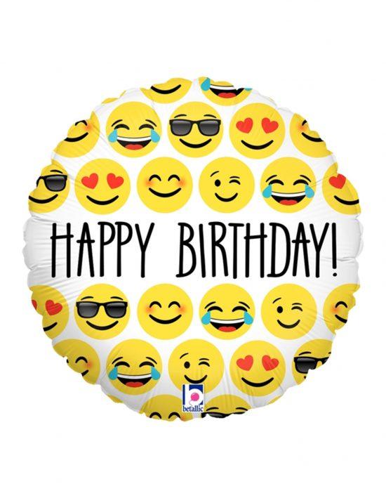Globo foil emoji Happy Birthday