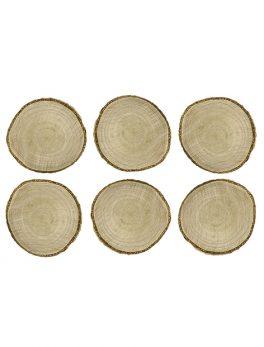 6 marcasitios tronco de madera 5 cm