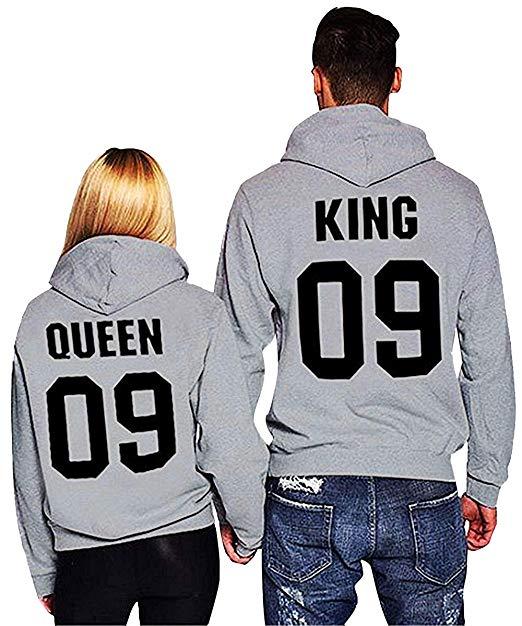 Rey y la reina pareja sudaderas sudadera novio y novia